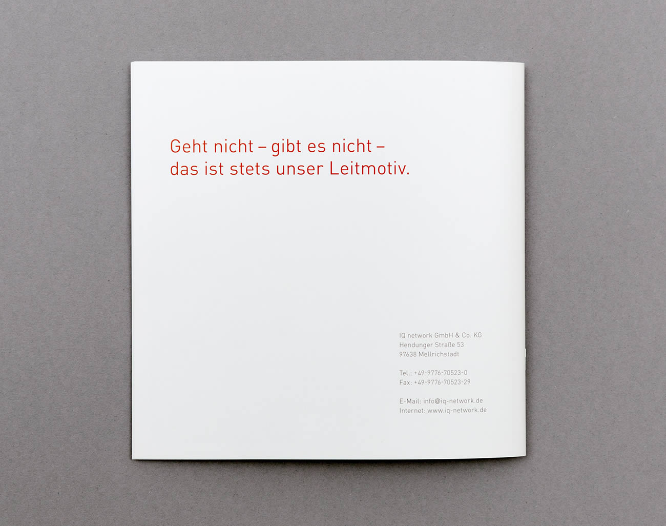 Petermeyer Zimmerer, Print, IQ Network, Imagebroschüre, Design by pz