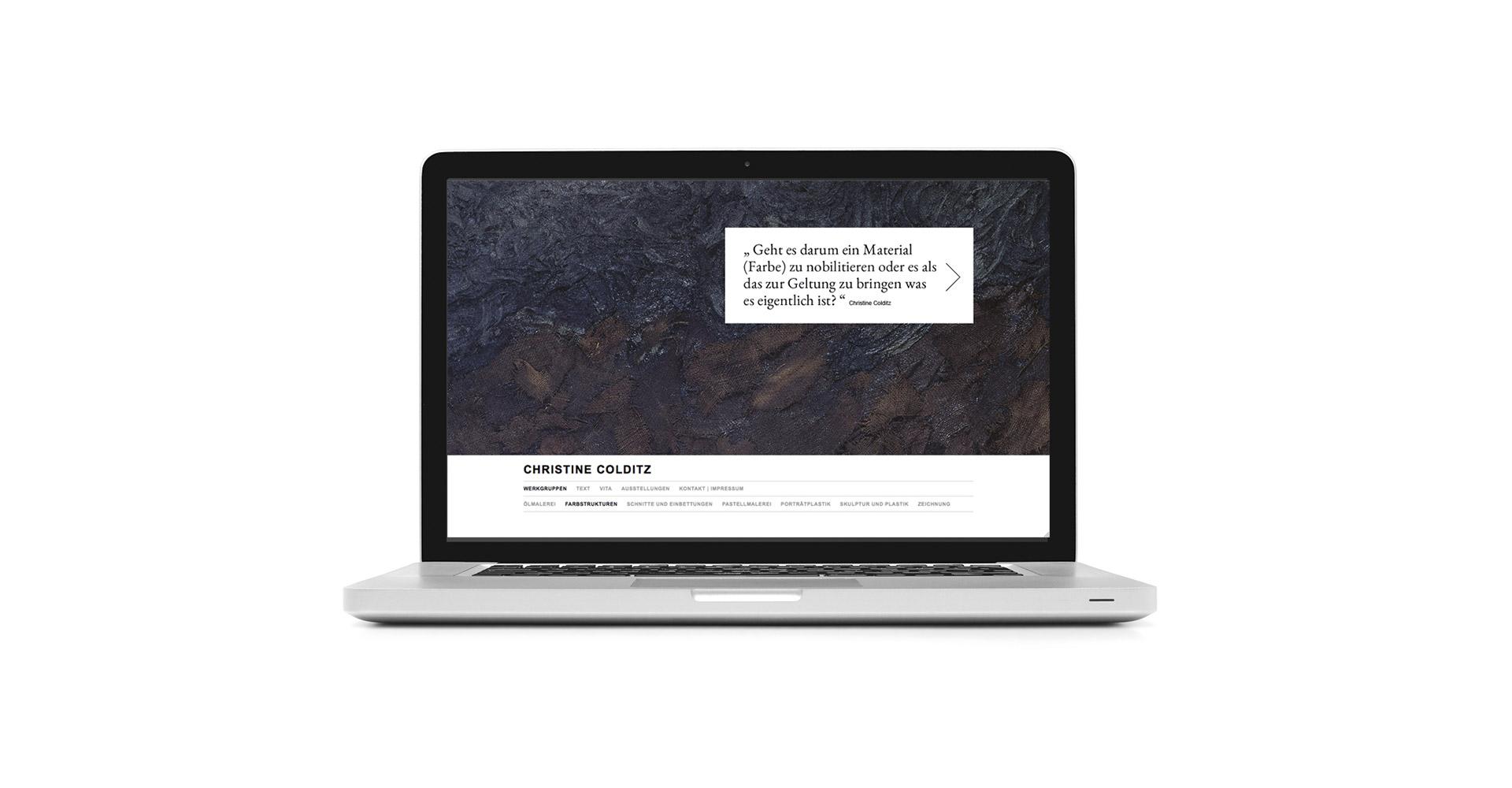 Petermeyer Zimmerer, Christine Colditz, Webseite, responsive, Kunst