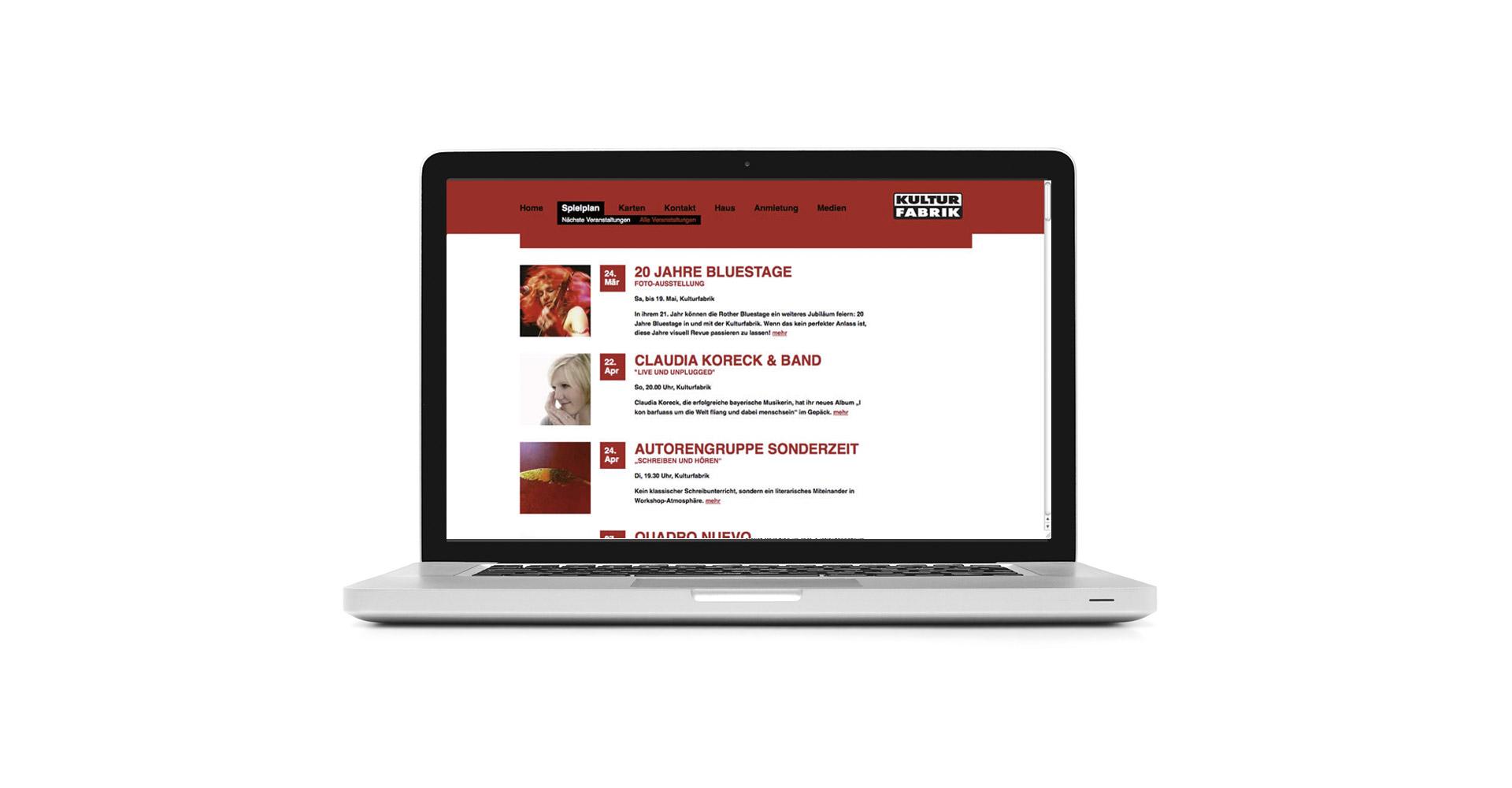 Petra Zimmerer, Büro für Gestaltung, Kulturfabrik Roth, Webseite