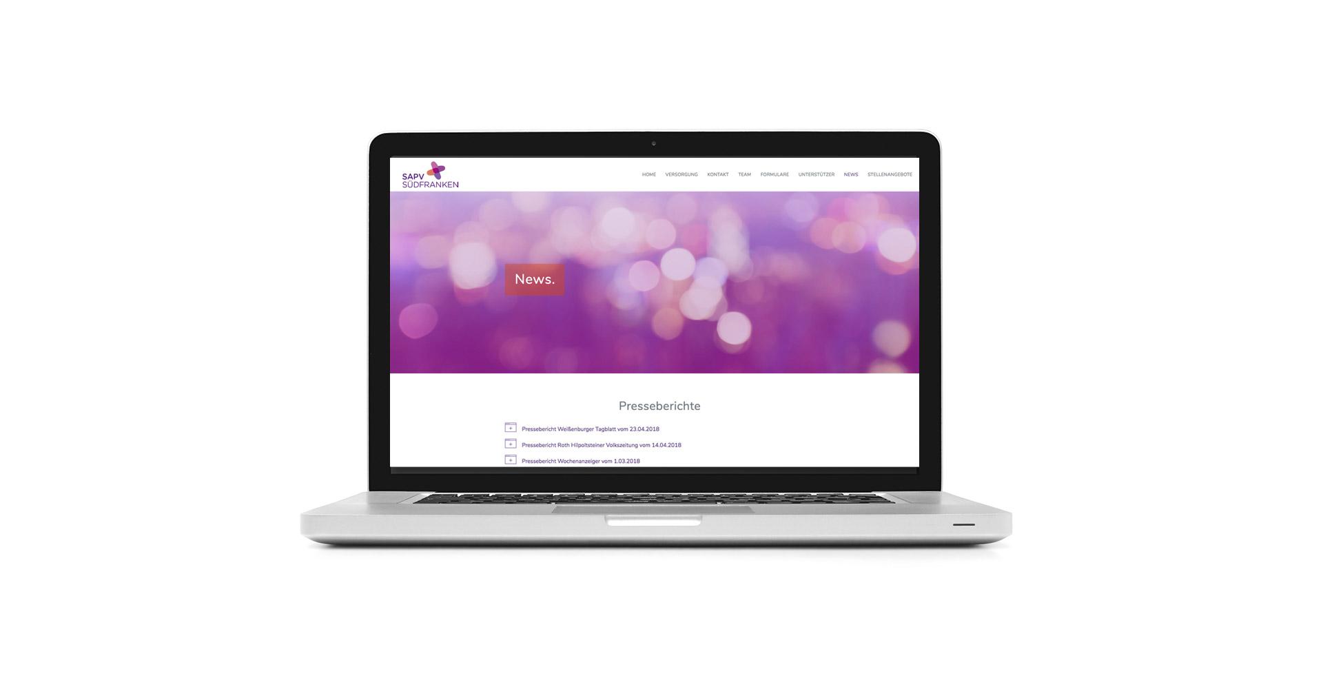 Petra Zimmerer, Büro für Gestaltung, Webseite, responsive, SAPV Südfranken, Design by pz