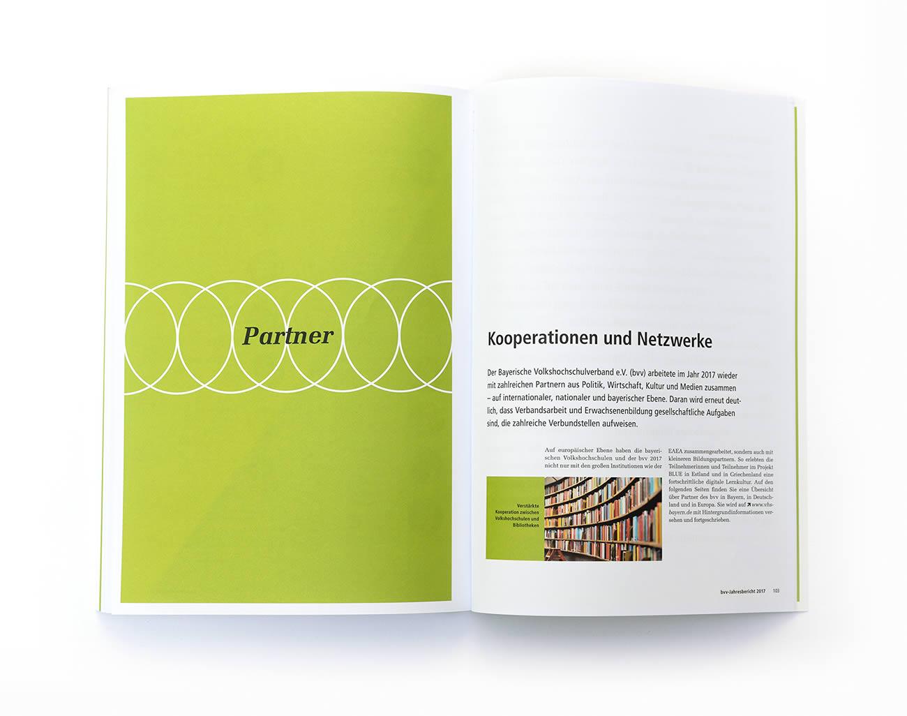 Petermeyer Zimmerer, Editorial, bvv Jahresbericht 2018, Bayerischer Volkshochschulverband, Design by pz