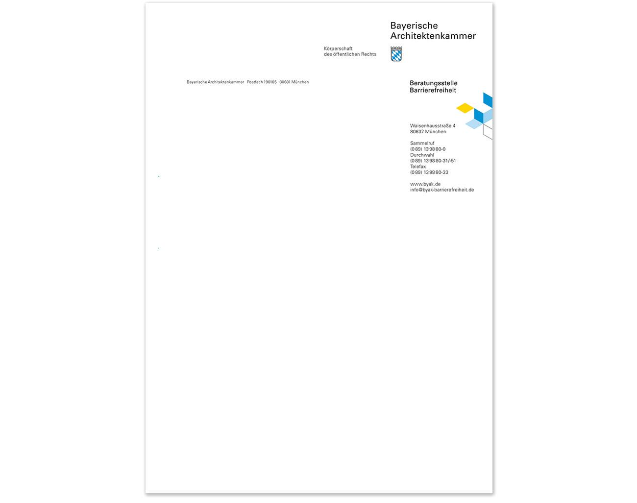 Briefbogen, Beratungsstelle Barrierefreiheit, Bayerischen Architektenkammer
